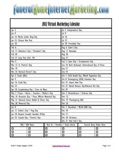 Funeral Home Virtual Marketing Calendar 2012