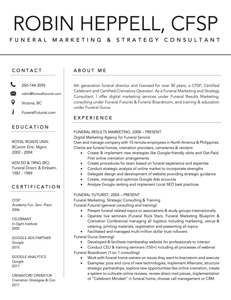 CV of Robin Heppell