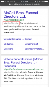 Mobile Friendly Funeral Home website