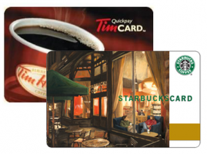 Tim Hortons Starbucks Cards